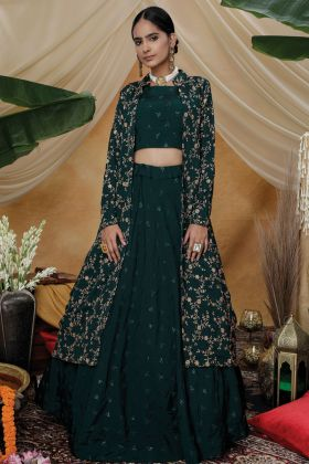 Latest Party Wear Fancy Green Lehenga Choli With Koti