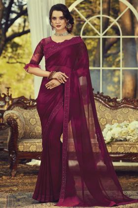 Latest Party Wear Nilofer Georgette Embroidered Saree In Wine Color