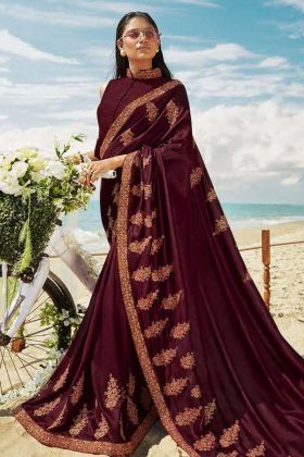 Latest Party Wear Saree With Soft Art Silk Wine Color