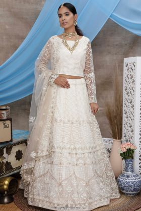 Latest Party Wear White Color Net Lehenga Choli