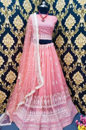 Latest Pink Color Georgette Wedding Lehenga Collection