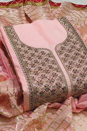 Latest Pink Color Modal Silk  Dress Material Collection