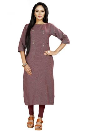 Latest Rayon Kurti In Pink Color For Regular Wear