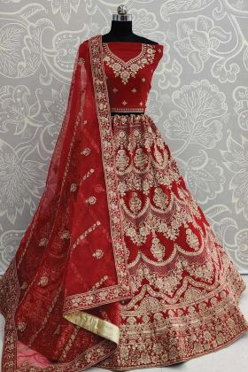 Latest Red Velvet Designer Embroidered Flaired Bridal Lehenga Choli