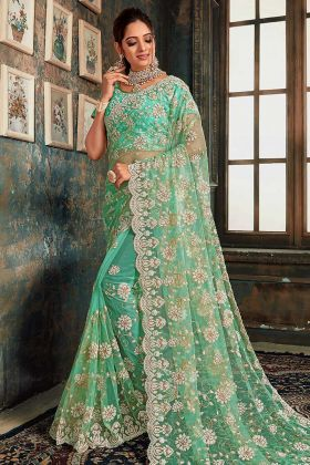 Latest Saree Design Green Net Fabric