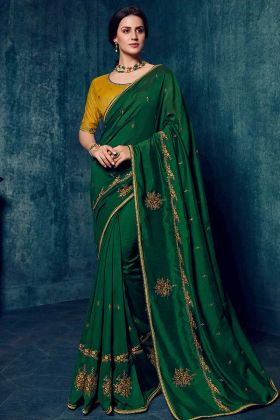 Latest Saree Design With Dola Silk Bottle Green Color