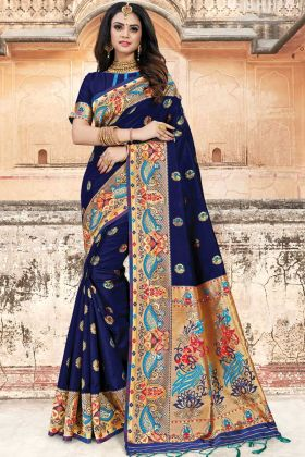 Latest Saree Design With Navy Blue Color Art Silk Fabric