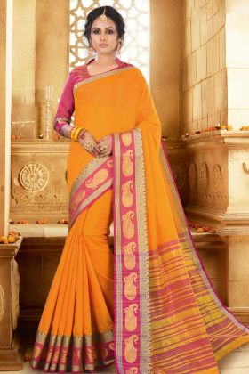 Latest Saree Khadi Silk Mustard Yellow Color