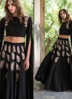 Latest Style Black Embroidered Lehenga Choli