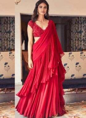 Latest Style Red Sequence Saree