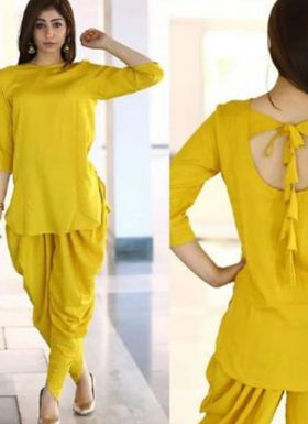 Latest Style Yellow Top With Dhoti