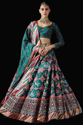 Latest Unique Designer Green Lehenga Choli In Pure Killer Silk