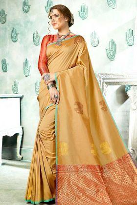 Latest Collection Beige Weaving Work Kanjivaram Art Silk Saree