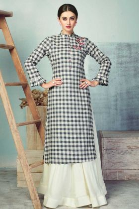Latest Collection Black and White Color Kurti