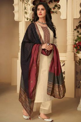Latest Collection Cream Color Pant Style Salwar Kameez