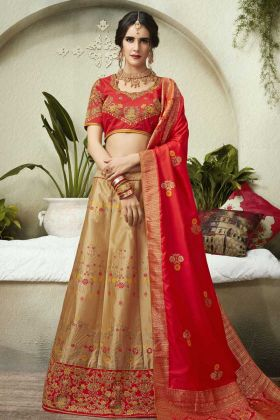 Latest Collection Embroidery Beige Silk Jacquard Wedding Lehenga Choli