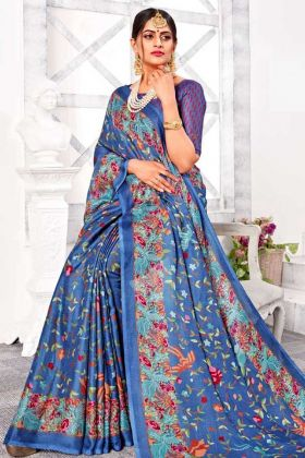 Latest Collection Festival Linen Silk Saree In Blue Color