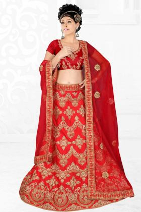 Latest Collection Hot Red Satin Silk Embroidery Bridal Lehenga Choli