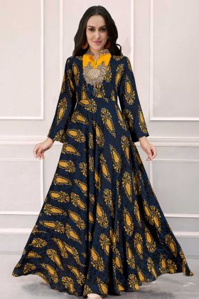 Latest Collection Navy Blue Gown