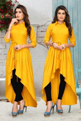 Latest Collection Rayon Latest Festival Kurti In Yellow Color
