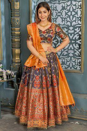 Latest Collection Teal Grey Color Banarasi Silk Stone Work Party Wear Lehenga Choli