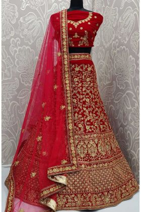 Latest Collection Velvet Wedding Lehenga Red Color