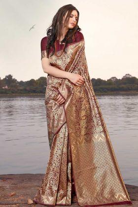 Latest Collection Weaving Work Banarasi Silk Saree In Maroon Color