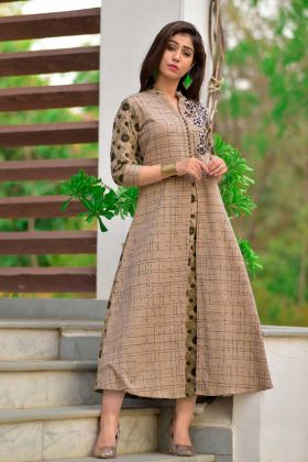 Latest Cotton Beige Color Embroidery Anarkali Kurti