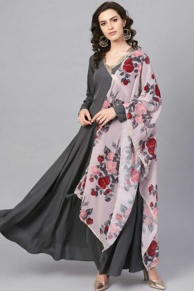 Latest Designer Anarkali Gown With Polyester Dark Grey Color