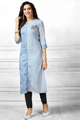 Latest Designer Blue Ladies Kurtis Design