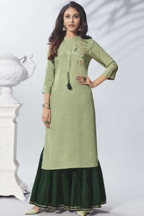 Latest Designer Long Kurti With Readymade Sharara