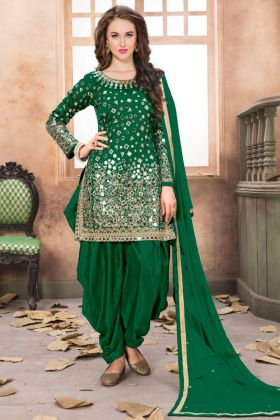 Latest Designer Patiala Suits Taffeta Silk Embroidered Green Color