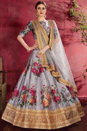 Latest Fashion Grey Digital Printed Lehenga Choli In Art Silk Fabric