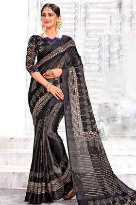 Latest Festival Linen Silk Saree In Black Color