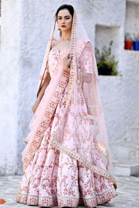 Latest Flamingo Pink Chennai Silk Bridal Lehenga Choli