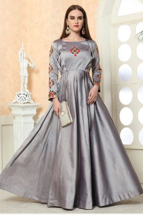 Latest Grey Color Taffeta Silk Gown