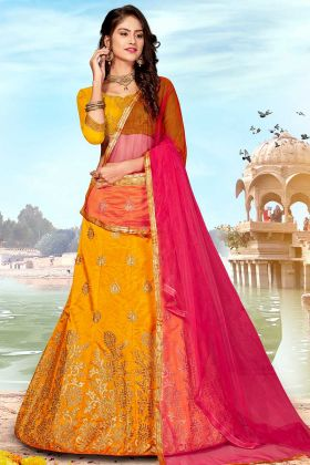 Latest Indian Wedding Lehenga Choli in Art Silk Mustard Yellow Color