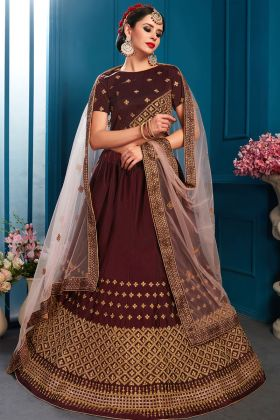 Latest Lehenga Designs Brown Color