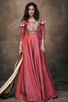 Latest New Arrival Stylish Dark Pink Gown