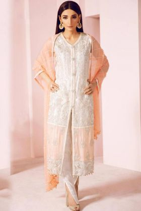 Latest Pakistani Style Dresses In White Georgette Fabric