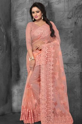 Latest Party Wear Saree Peach Color With Net Fabric