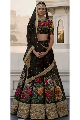 Latest Sabyasachi Collection Black Traditional Lehenga Choli With Fine Art Silk Fabric