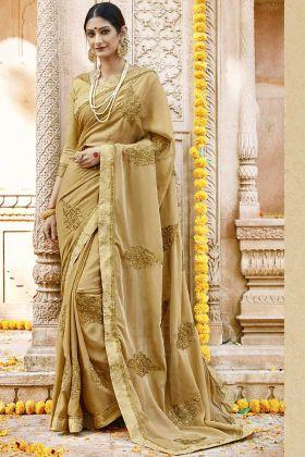 Latest Saree Design With Beige Silk Georgette