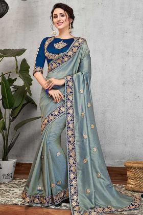 Latest Saree Dual Tone Silk Blue Color