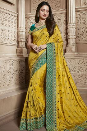 Latest Yellow Silk Wedding Saree