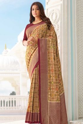 Launching New Beige Handloom Silk Printed And Weaving Saree