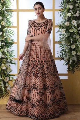 Launching New Designer Thread Embroidered Peach Net Suit