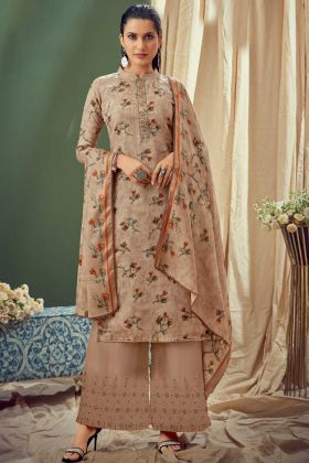 Launching New Light Brown Pure Wool Pashmina Suit