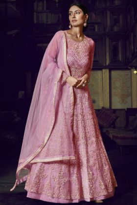 Launching New Super Net Pink Color Gown Style Anarkali Suit