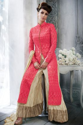 Launching New Tussar Silk Red Color Party Wear Heavy Suit